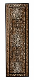ATLAS Modern Carpet Runner Short Pile Wild Animal Black Beige