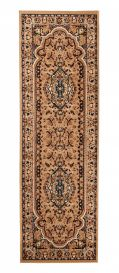 ATLAS Carpet Runner Short Pile Traditional Rosette Beige
