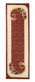 ATLAS Carpet Runner Short Pile Hallway Floral Motif Brown