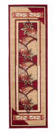ATLAS Carpet Runner Modern Short Pile Hallway Floral Red Beige