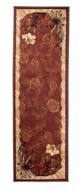 Atlas Teppich Läufer Modern Braun Floral Design