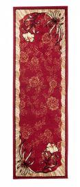 Atlas Teppich Läufer Modern Rot Creme Floral Design