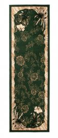 Atlas Teppich Läufer Modern Grün Creme Floral Design