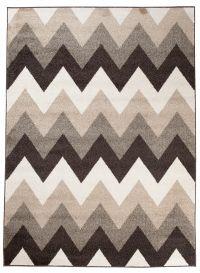 MAROKO Teppich Kurzflor Modern Geometrisch Streifen Braun Beige