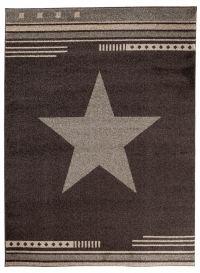 MAROKO Area Rug Modern Short Pile Star Dark Brown Teenager