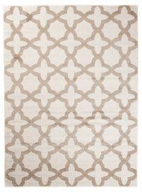MAROKO Teppich Kurzflor Modern Marokkanisch Gitter Creme Beige