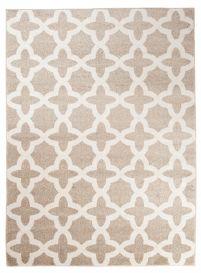 MAROKO Teppich Kurzflor Modern Marokkanisch Gitter Beige Creme