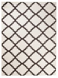 MAROKO Area Rug Modern Short Pile Moroccan Trellis Cream Brown