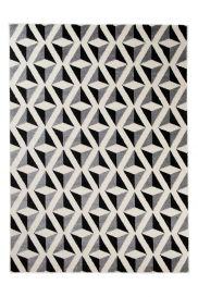MAROKO Teppich Kurzflor Modern Gitter Schwarz Creme Grau