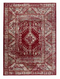 DUBAI Tapis Traditionnel Floral Bordé Rouge Beige Vintage Fin