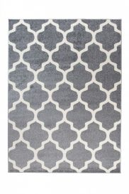 MAROKO Teppich Modern Kurzflor Marokkanisch Gitter Grau Creme