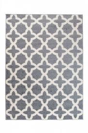 MAROKO Teppich Kurzflor Modern Marokkanisch Gitter Creme Grau