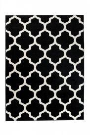 MAROKO Teppich Modern Kurzflor Geometrisch Gitter Schwarz Creme