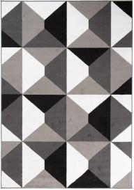 MAYA Area Rug Modern Short Pile Geometric Shapes Grey Black