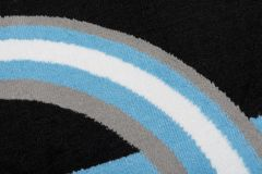 MAYA Area Rug Modern Short Pile Circles Geometric Blue Grey