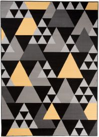 Maya Teppich Kurzflor Modern Dreiecke Schwarz Gelb Grau