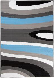 MAYA Vloerkleed Donkergrijs Blauw Golven Lijnen Eyecather Design