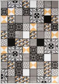Maya Teppich Kurzflor Gelb Grau Schwarz Modern Mosaik