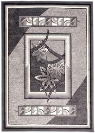 DREAM Teppich Kurzflor Grau Creme Meliert Floral Design