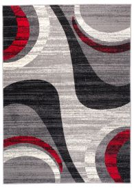 DREAM Teppich Kurzflor Grau Creme Rot Modern Wellen