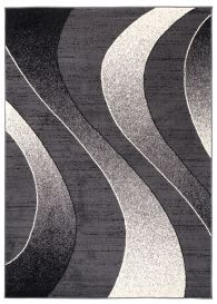 DREAM Modern Area Rug Short Pile Abstract Waves Dark Grey