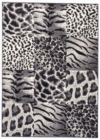 DREAM Teppich Modern Kurzflor Hellgrau Afrika Tiermotiv