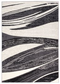 DREAM Area Rug Modern Short Pile Abstract Wavy Lines Grey