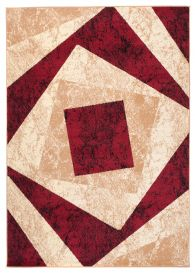DREAM Modern Area Rug Short Pile Abstract Square Cream Red