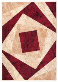 DREAM Teppich Modern Kurzflor Rot Creme Vierecke Meliert