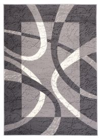 DREAM Area Rug Modern Short Pile Designer Abstract Grey White