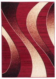 DREAM Modern Area Rug Short Pile Abstract Waves Red Burgundy