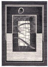 DREAM Teppich Kurzflor Grau Schwarz Creme Meliert Streifen Modern