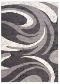 DREAM Area Rug Modern Short Pile Waves Designer Grey