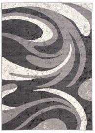 DREAM Teppich Kurzflor Modern Grau Creme Wellen Meliert Design