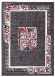 DREAM Teppich Kurzflor Modern Grau Creme Rot Ornament Floral
