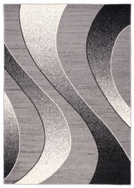 DREAM Modern Area Rug Short Pile Abstract Waves Light Grey