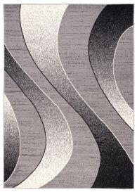 DREAM Teppich Modern Wellen Design Grau Creme Schwarz Meliert