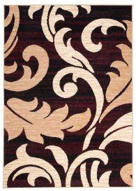 DREAM Teppich Kurzflor Modern Schwarz Creme Rot Floral Design
