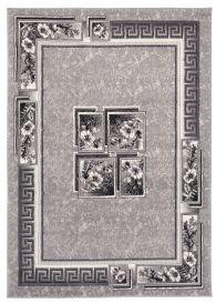 DREAM Teppich Kurzflor Creme Hellgrau Meliert Floral Design