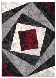 DREAM Modern Area Rug Short Pile Abstract Square Grey Red