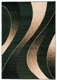 Dream Tappeto Moderno Verde Beige Astratto Onde A Pelo Corto