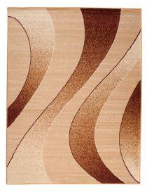 DREAM Teppich Modern Wellen Design Hellbraun Creme Meliert