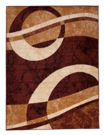 DREAM Area Rug Modern Short Pile Abstract Geometric Shapes Brown