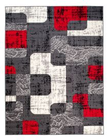 DREAM Area Rug Modern Short Pile Designer Abstract Grey Red