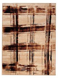 DREAM Teppich Modern Beige Braun Streifen Karo Design Meliert