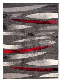 DREAM Teppich Kurzflor Modern Meliert Grau Rot Creme Streifen