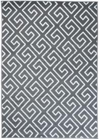 FIRE Teppich Modern Kurzflor Geometrisch Griechisch Grau Weiss