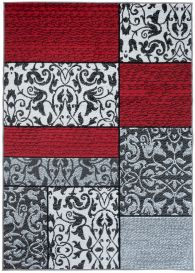 FIRE 2018 Area Rug Modern Short Pile Floral Rectangle Red White