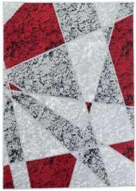 FIRE 2018 Area Rug Modern Short Pile Abstract Shapes Light Grey Red