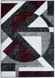 FIRE 2018 Area Rug Modern Short Pile Shapes Abstract Red Black